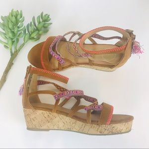 "SO Platform Cork Wedge Sandals 1.5"" Heel 5 Medium"